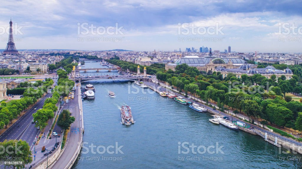 Aerial view of Paris with Eiffel tower and Seine river stock photo