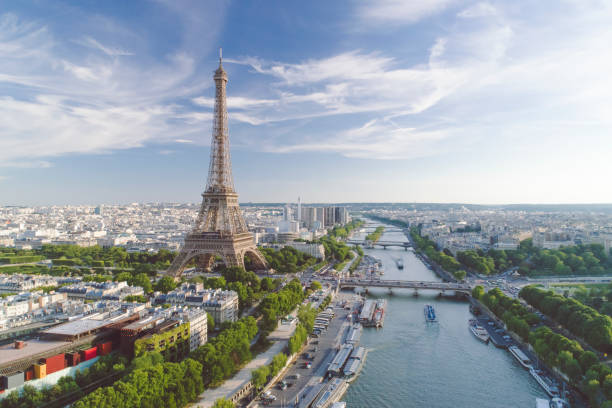 Aerial view of Paris with Eiffel tower during sunset stock photo
