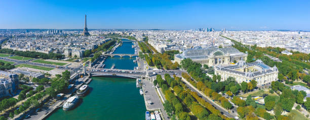 Aerial view of Paris with Seine river