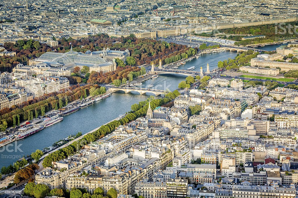 Aerial view of Paris with Seine River stock photo