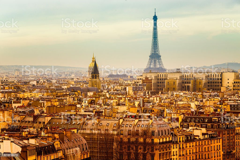 Aerial View of Paris with the Eiffel Tower. Traditional View stock photo