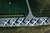 istock Aerial View of Parked Airplanes at Dübendorf Airport 1249380465