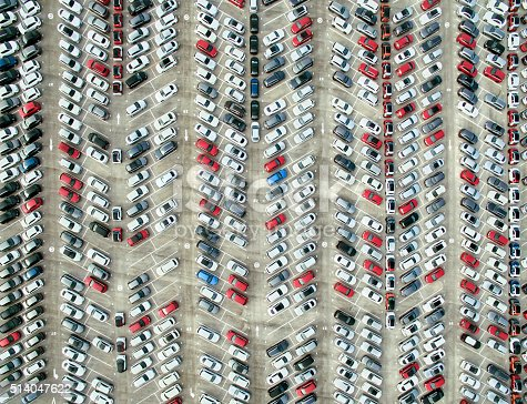 istock Aerial view of parked cars 514047622