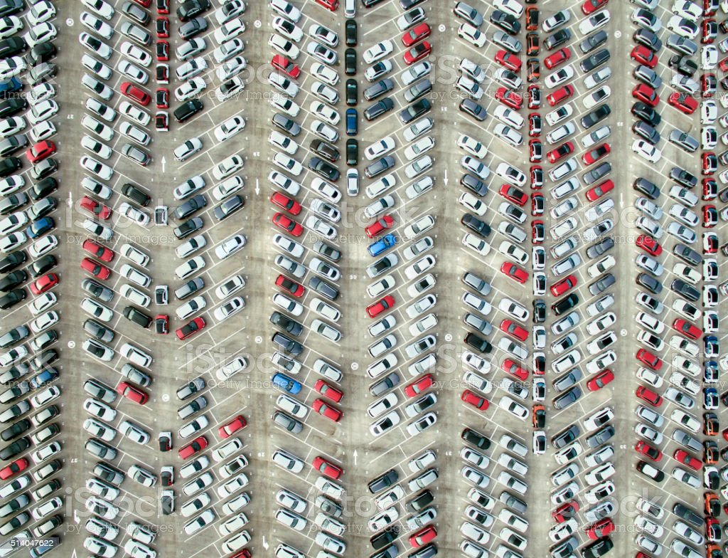 Aerial view of parked cars stock photo