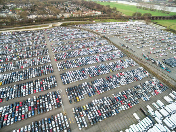Aerial view of parking cars stock photo