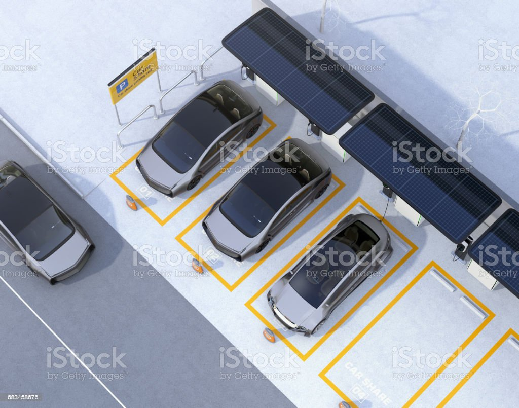 Aerial view of parking lot for car sharing business vector art illustration