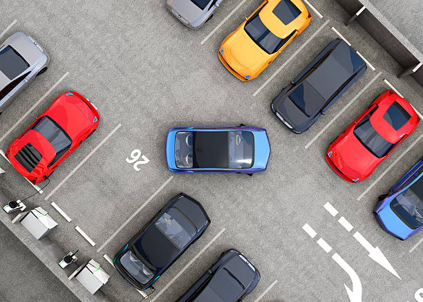 Aerial view of parking lot stock photo