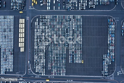 1142724396 istock photo Aerial View of parking 1142724373