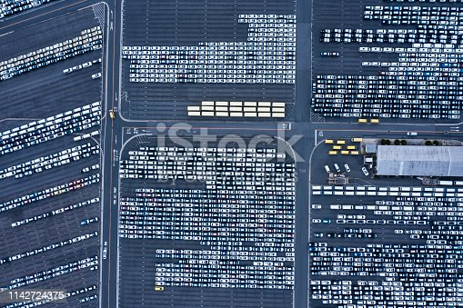 1142724396 istock photo Aerial View of parking 1142724375