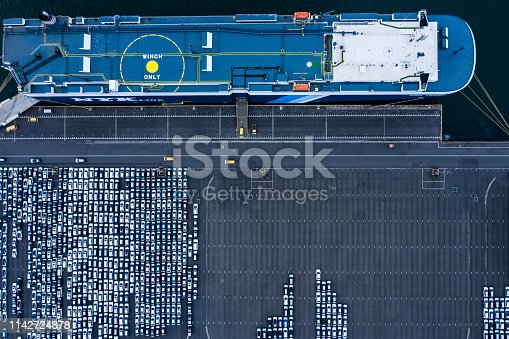 1142724396 istock photo Aerial View of parking 1142724378
