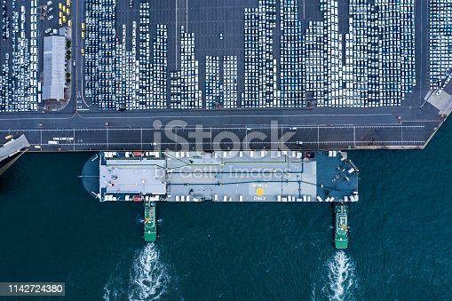 1142724396 istock photo Aerial View of parking 1142724380