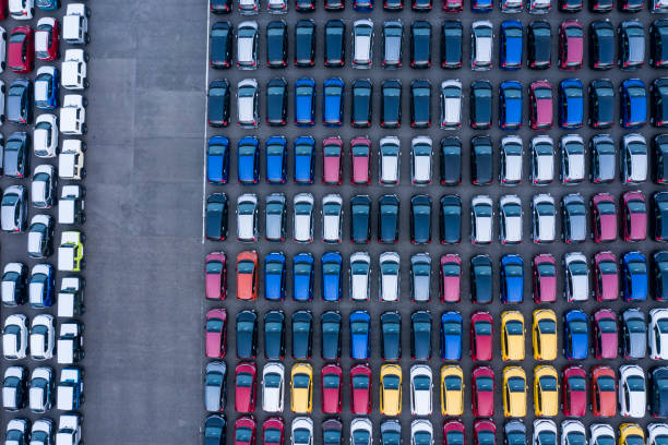 Aerial View of parking stock photo