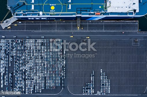 1142724396 istock photo Aerial View of parking 1142724389