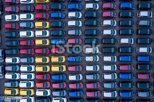 1142724396 istock photo Aerial View of parking 1142724396