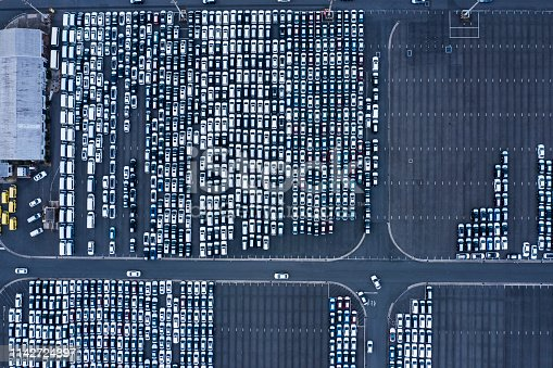 1142724396 istock photo Aerial View of parking 1142724397