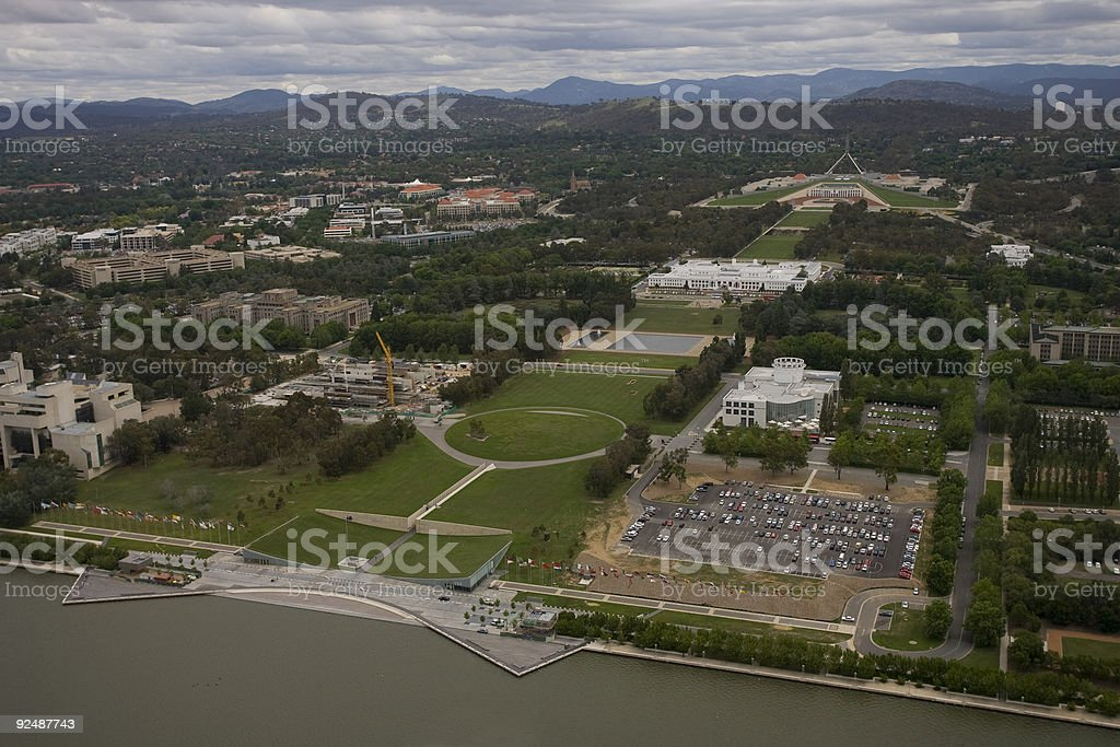Aerial view of Parliament house, Canberra, Australia royalty-free stock photo