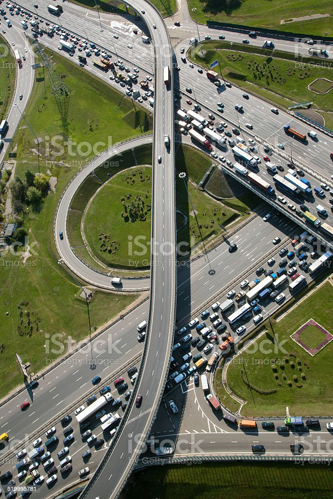 Aerial view of part of highway interchange stock photo