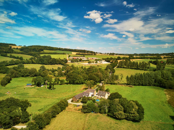 Aerial view of pastures and farmlands in Brittany, France stock photo