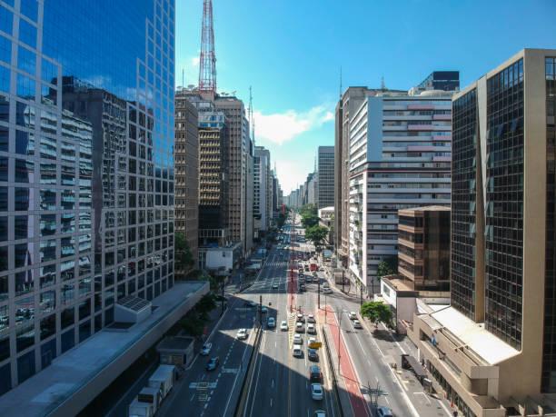 vista aérea da avenida paulista em são paulo - sao paulo - fotografias e filmes do acervo