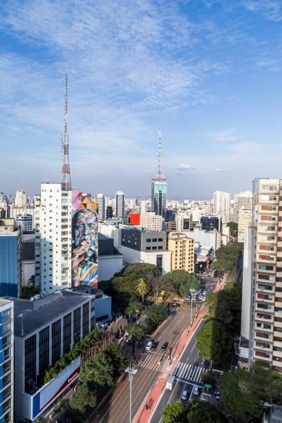 luftaufnahme der paulista avenue am nachmittag - sprüche über reisen stock-fotos und bilder