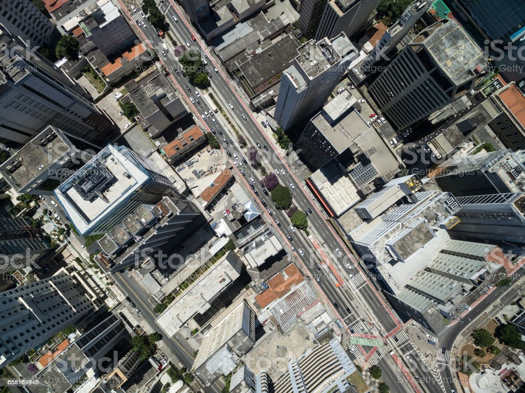 Aerial View of Paulista Avenue, Sao Paulo, Brazil stock photo