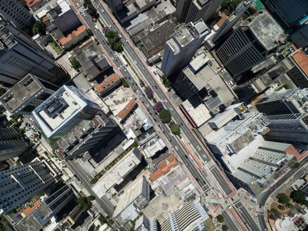 パウリスタ アベニュー、サンパウロ、ブラジルの空撮 ストックフォト