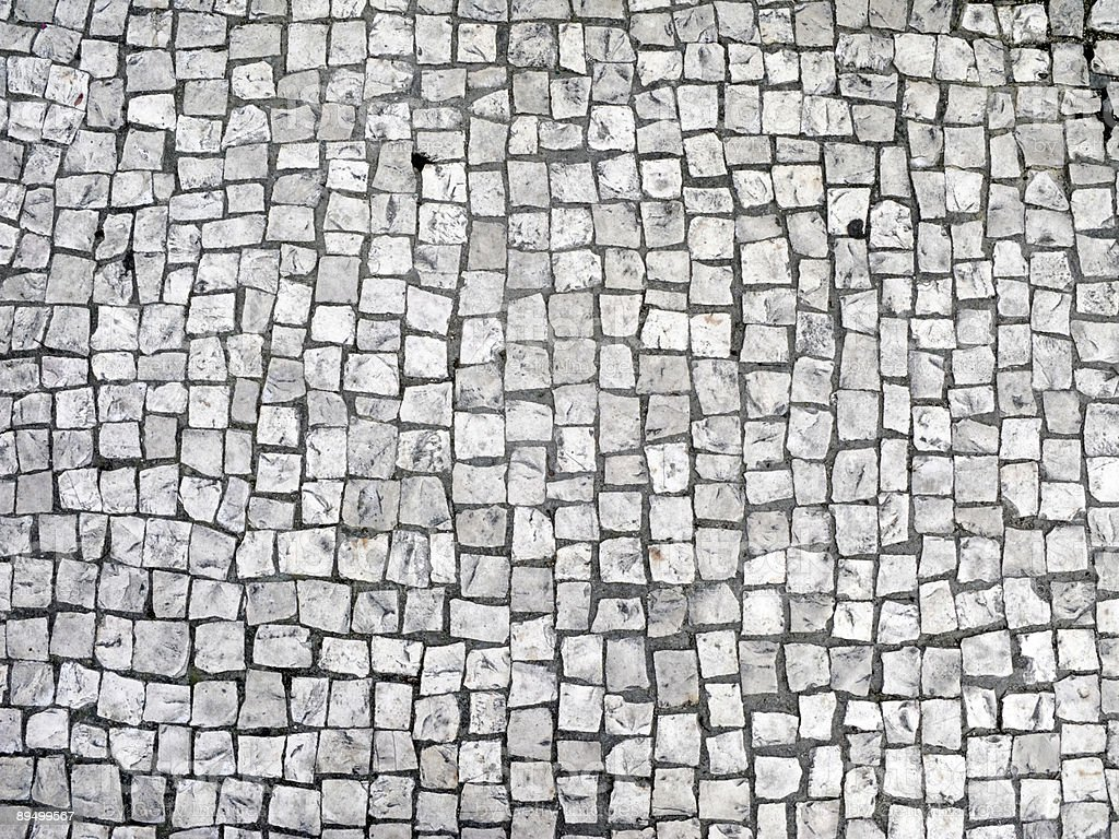 Aerial view of paved stone road stock photo