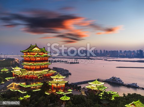 Aerial view of Pavilion of Prince Teng  in sunset, Nanchan, Jiangxi, China.