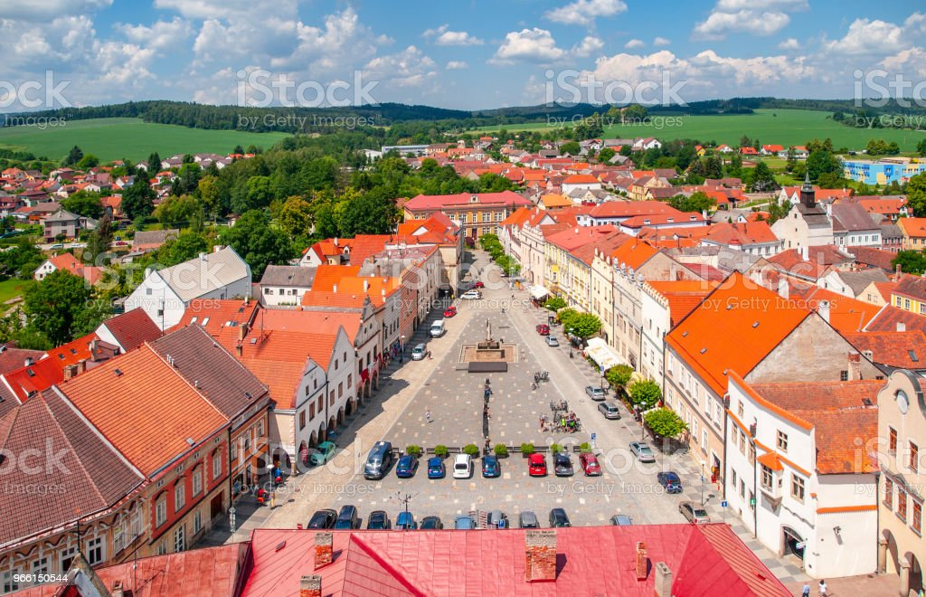 Aerial view of Peace Town Square from bell tower in Slavonice, Czech Canada, Czechia - Royalty-free Aerial View Stock Photo
