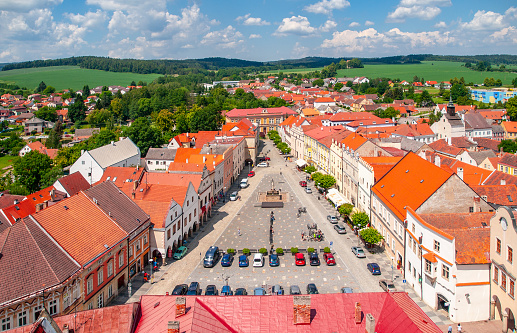 Aerial View Of Peace Town Square From Bell Tower In Slavonice Czech Canada Czechia Stock Photo - Download Image Now