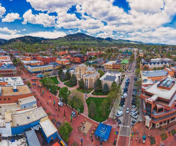 Aerial view of Pearl Street Mall in Boulder Colorado stock photo
