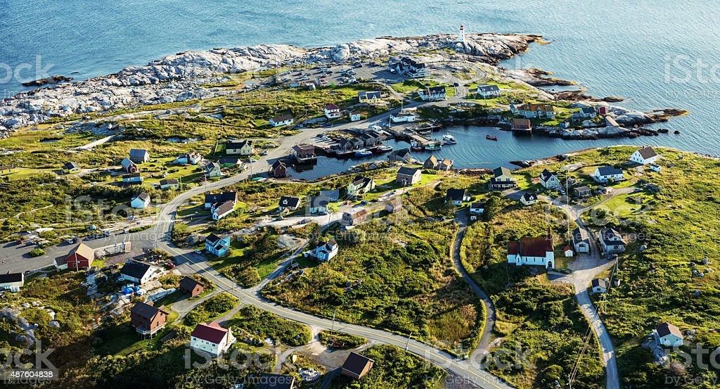 Aerial View of Peggy's Cove stock photo