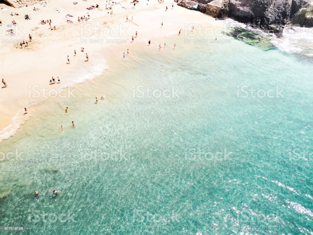 Aerial View Of People At The Beach Royalty Free Stock Photo