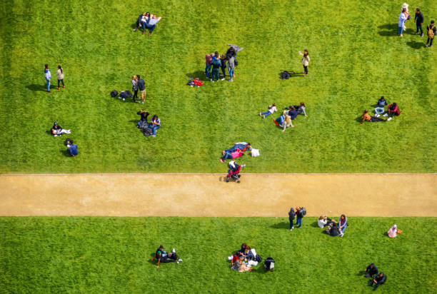 Aerial view of people in park stock photo