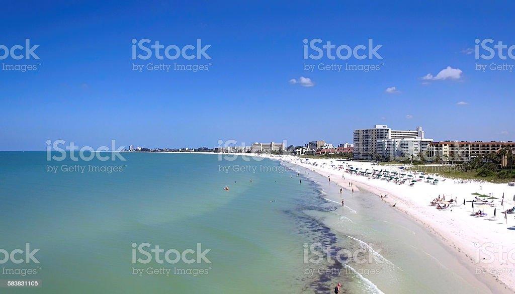 Aerial view of people on Siesta Key beach, Sarasota, FL stock photo