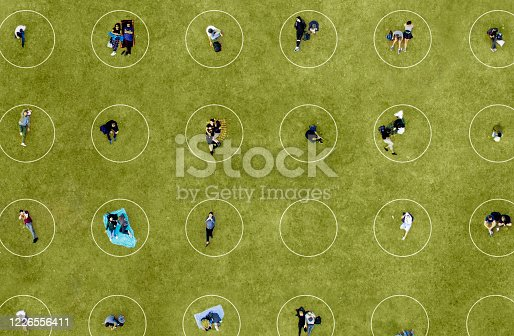 Aerial View of People Social Distancing at the park