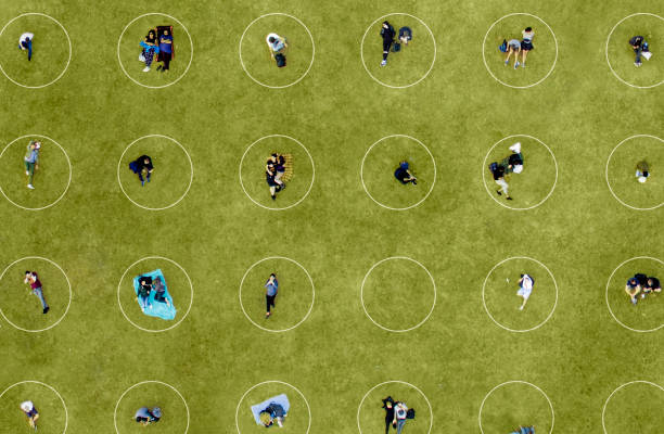 Aerial View of People Social Distancing at the park stock photo