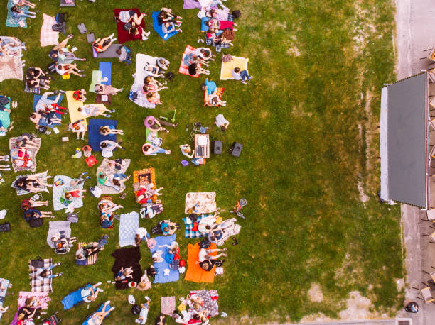 aerial view of people that watching cinema in open air cinema stock photo