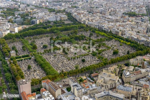 Aerial view of Pere Lachaise Cemetery taken from Montparnasse Tower in Paris, France