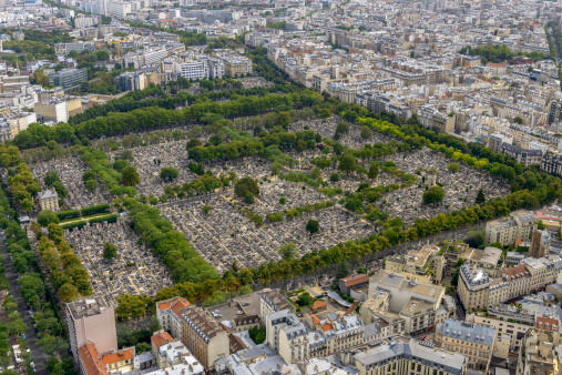 Aerial view of Pere Lachaise Cemetery taken from Montparnasse To
