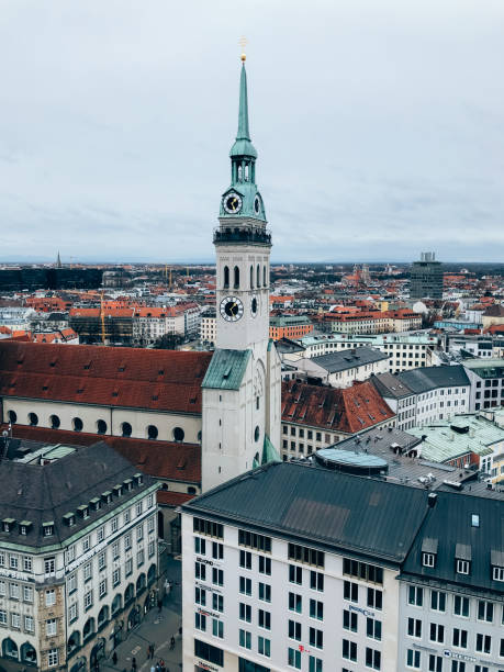 aerial view of peterskirche church in munich - peter the apostle stock photos and pictures