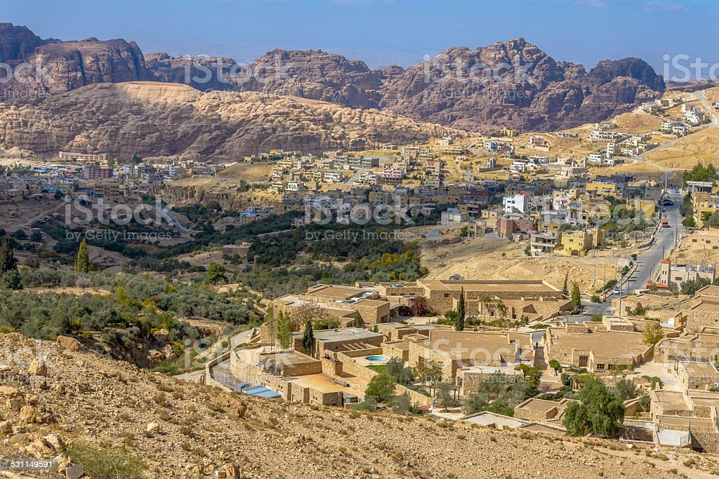 Aerial view of Petra Village stock photo