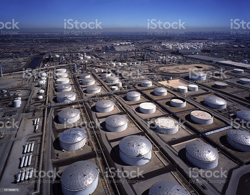 Aerial View of Petroleum Storage royalty-free stock photo