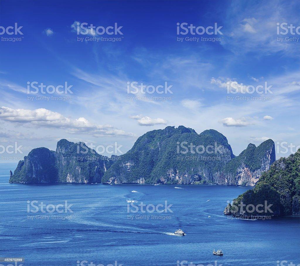 Aerial view of Phi-Phi Leh island stock photo