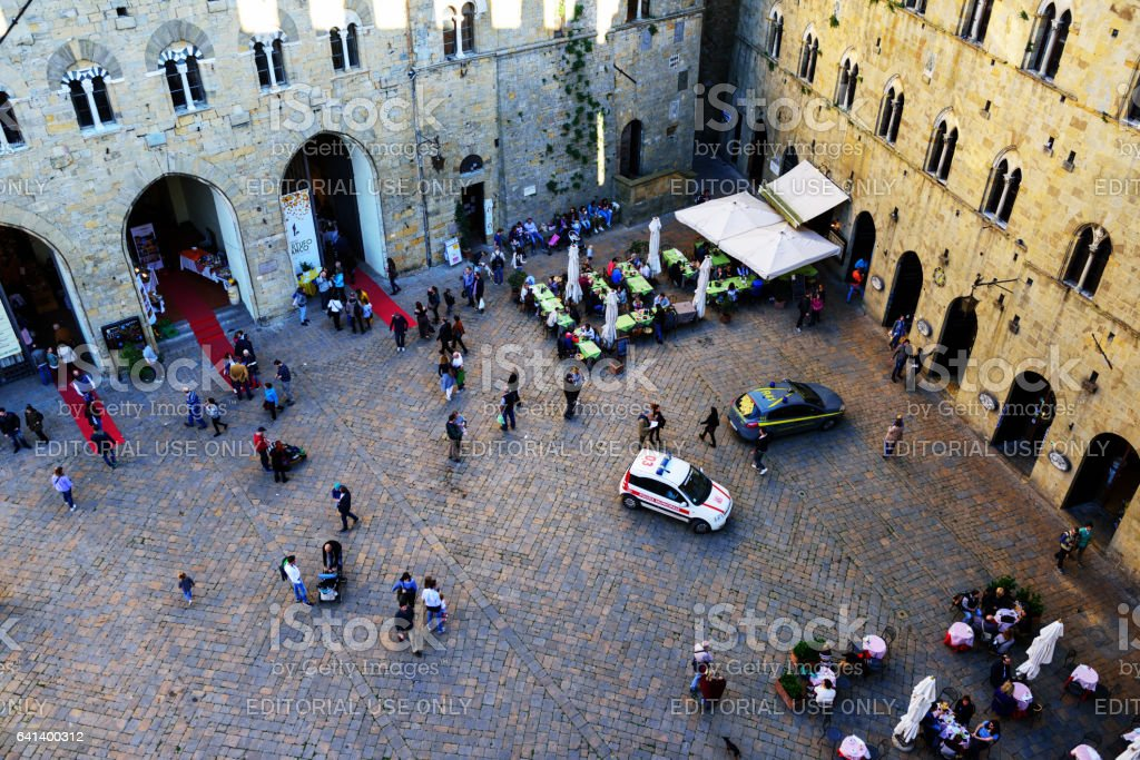 Aerial view of Piazza dei Priori, Volterra, Italy stock photo