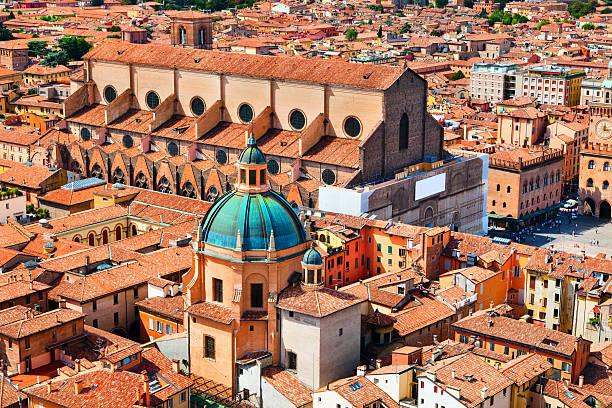 Aerial view of Piazza Maggiore and Basilica San Petrino stock photo