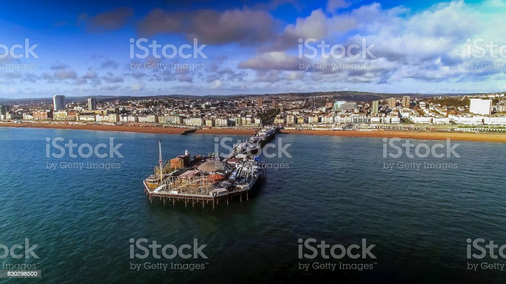 Aerial View Of Pier And Beach In Brighton England UK stock photo