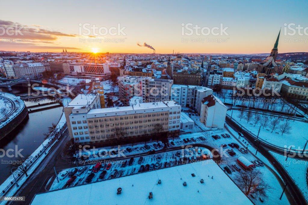 Aerial view of Pilsen stock photo