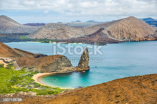 istock Aerial view of Pinnacle Rock, Bartolome Island, Galapagos, Ecuador 1007148788