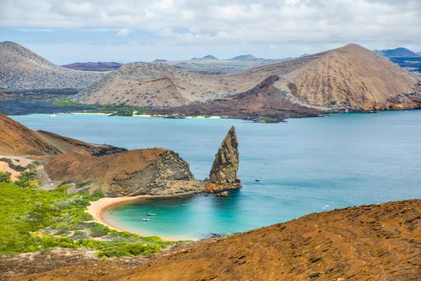 Aerial view of Pinnacle Rock, Bartolome Island, Galapagos, Ecuador stock photo